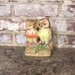 Vintage Owl Lovers Ceramic Decor figurine 60s 70s